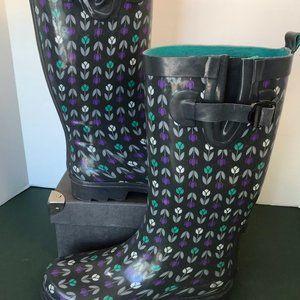 Capelli New York Gray With Tulips Rain Boots